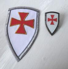 ZPs Knights Templar Shield Iron Patch + Badge Crusader St George Crusade Cross