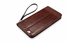 Glossy Wallet Cases with Strap for Apple Phones