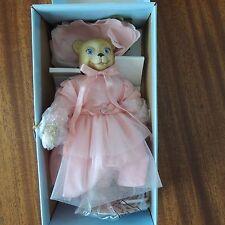 GOEBEL BETTY JANE CARTER FLOWER BEAR PORCELAIN DOLL/PINK STAND/BOX