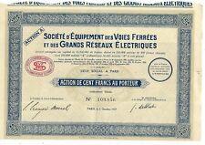 action société équipements voies ferrées et grands réseaux électriques 1929