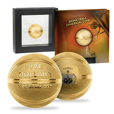 More details for 1oz silver basketball coin gold plated collectable spherical limited edition