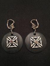 LOREE RODKIN Black Round Earrings With Diamond Maltese Cross!