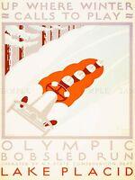 VINTAGE TRAVEL SPORT WINTER OLYMPIC BOBSLED LAKE PLACID ART POSTER PRINT LV5028