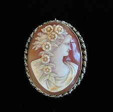 Antique Victorian 14K Yellow Gold LARGE Shell Cameo Brooch Pendant Female Bust