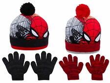 Boys Spiderman Bobble Hat + Gloves Winter Set Kids Marvel Warm Xmas Gift Size