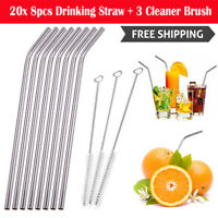 20x 8pcs Stainless Steel Metal Drinking Straw Reusable Straws+3 Cleaner Brush
