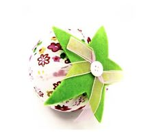 Jo-ann's Strawberry Pincushion,White Floral,Green Leaf,Cotton