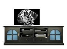 Mueble tv de 2 metros por salón, mueble de madera negro vidrios azules, clásico
