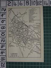1959 INDIA/PAKISTAN TOURIST MAP ~ LAHORE CITY PLAN RAILWAY STATION SCHOOL FORT