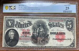 1907 $5 Legal Tender Note Speelman/White Large Size FR.91 PCGS Certified VF 25