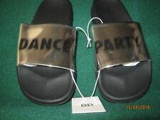"""DANCE PARTY Slides / Sandals SILVER MIRROR & BLACK SZ. 7-M """"NEW"""""""
