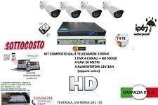 KIT VIDEOSORVEGLIANZA 4 TELECAMERA BIANCHE INFRAROSSI HD500+ DVR + ALIMENTATORE
