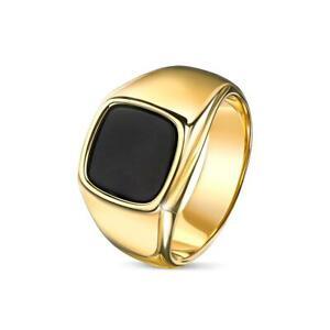 Herren Ring Onyx schwarz 18K 750er Gold vergoldet gelbgold Edelstahl R6046D