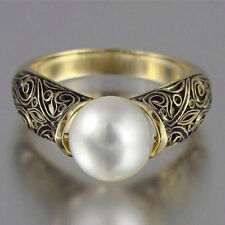 18k Yellow Gold Plated White Pearl Ring Size 6-10 Fashion Women Wedding Ring