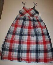 New OshKosh Girls Sleeveless Summer Red White Blue Plaid Print Dress 12 Year