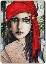 Fantasy Art ACEO PRINT gypsy fortune teller tarot cards seer psychic wc
