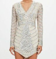 Peace + Love Missguided Silver Plunge Embellished Triangle Mini Dress UK 14 42