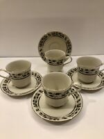 Royal Limited Holly Holiday Made in Japan Set of 4 Tea cups and Saucers