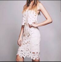 Free People Saylor Erin Dress Small Lace Crochet Overlay Strapless Tiered Cream