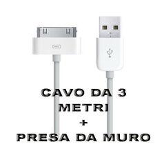 Mini Carica Batteria USB Da Muro Per Iphone 3GS 4 4S Ipad Bianco Con Cavo 3 M
