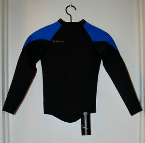 NWT O'Neill Youth Kid's Black & Blue Reactor II 1.5/1mm LS Wetsuit Top sz 14