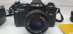 Minolta X-700 Black SLR Camera With Minolta f:1.7 50mm 280PX Auto Flash Case