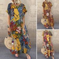 ZANZEA Womens Summer Short Sleeve Long Midi Dress Vintage Floral Beach Sundress
