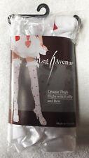 Leg Avenue -  Opaque Thigh Highs Holdups Heart Print Ruffle and Satin Bow