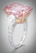 Large 15 ct Pink Emerald Statement Ring Solid Sterling Silver Handmade Party New