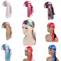 Women Silk Laser Polyester Bandana Hat Durag Rag Tail Unisex Headwrap Headwear