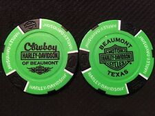 "Harley Davidson Poker Chip (NEON Green & Black) ""Cowboy"" Beaumont, Texas"