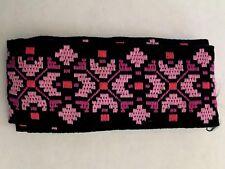 Vintage sewing trim jacquard embroidered ribbon purple pink black 2 yds 1960's