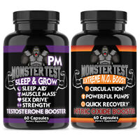 Testosterone Booster Pack w/ Monster Test PM + Monster Test Nitric Oxide  2-PK