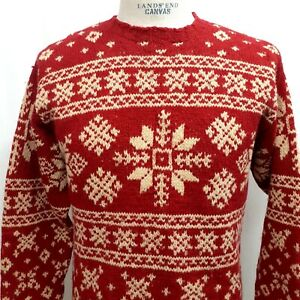Vintage J Crew Mens size Small Red Snowflake 100% Wool Crew Neck Sweater Red