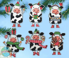 Cross Stitch Kit ~ Design Works Set of 6 Christmas Cows Ornaments PC #DW1695