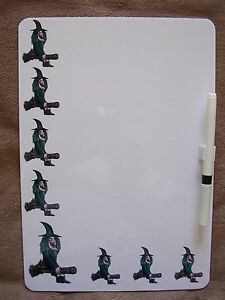 WITCH + BLACK CAT ON BROOMSTICK DRY WIPE MAGNETIC FRIDGE MEMO BOARD WITH PEN.NEW
