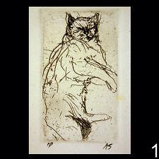 Signed original artist's proofs of intaglio etchings of Cats by Aubrey Schwartz