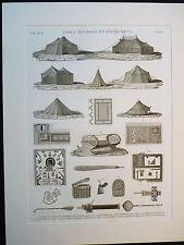 Gravure description de l'Egypte Etat moderne Vol lI Vases, meubles et instrument