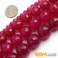 "Plum Jade Gemstone Faceted Round Loose Spacer Beads For Jewelry Making 15""Strand"