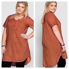 Sheego @ Kaleidoscope Terracotta Size 16 Lace Up Casual DRESS Holiday Boho £44