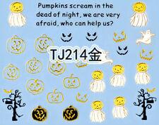Halloween GOLD Pumpkin Scream Tree Branches Horror 3D Nail Art Sticker Decals