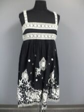 TEMPERLEY LONDON Black White Sleeveless Cotton Lined Embroidered Dress 8 DD7158