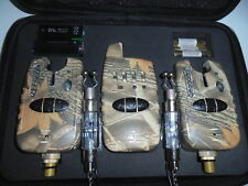 2 x TMC Wireless Camo bite alarms + receiver + illuminated Chains + Free Gift