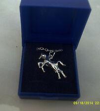 "COSTUME JEWELLERY CHILDRENS pendant horse & silver colour chain 17"""
