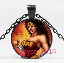 Wonder Woman Cabochon black Glass Chain Pendant Necklace HS-5780