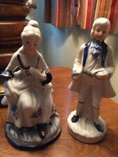 """Vintage Blue White Porcelain Man Lady Couple Figurines Colonial Approx 7"""" Tall"""