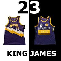 "LEBRON JAMES ""23"" NBA JERSEY SLEVELESS SHIRT PURPLE GOLD LOS ANGELES LAKERS"