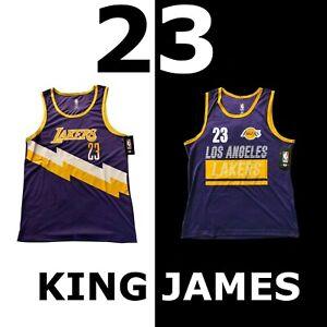"LEBRON JAMES ""23"" NBA JERSEY SLEVELESS SHIRT PURPLE GOLD LOS ANGELES LAKERS"