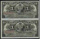 Pareja correlativa de 1 peso de 1896 del Banco isla C, sin circilar/plancha