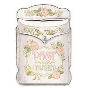 Rustic Vintage Style Pink METAL MAILBOX Post Courier Embossed Floral Primitive